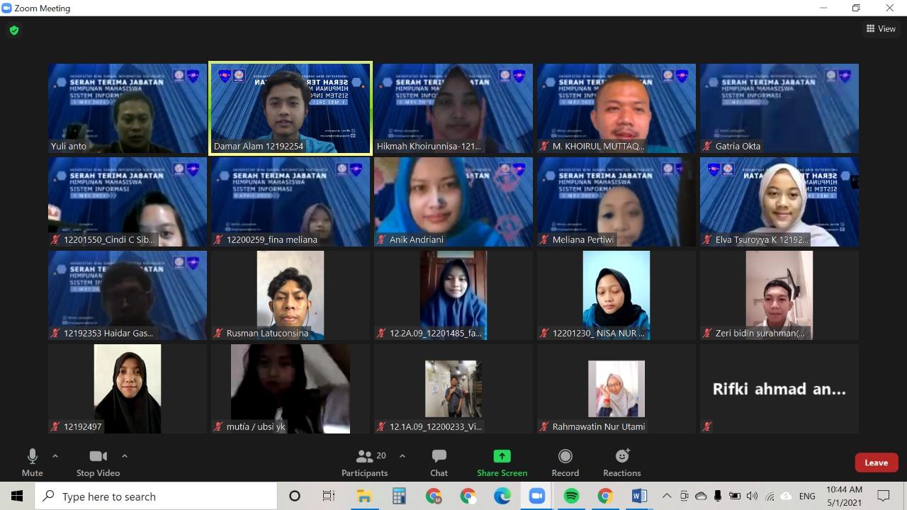 Serah Terima Jabatan Pengurus HIMASI Kampus UBSI Yogyakarta  Periode Tahun 2021 Yogyakarta