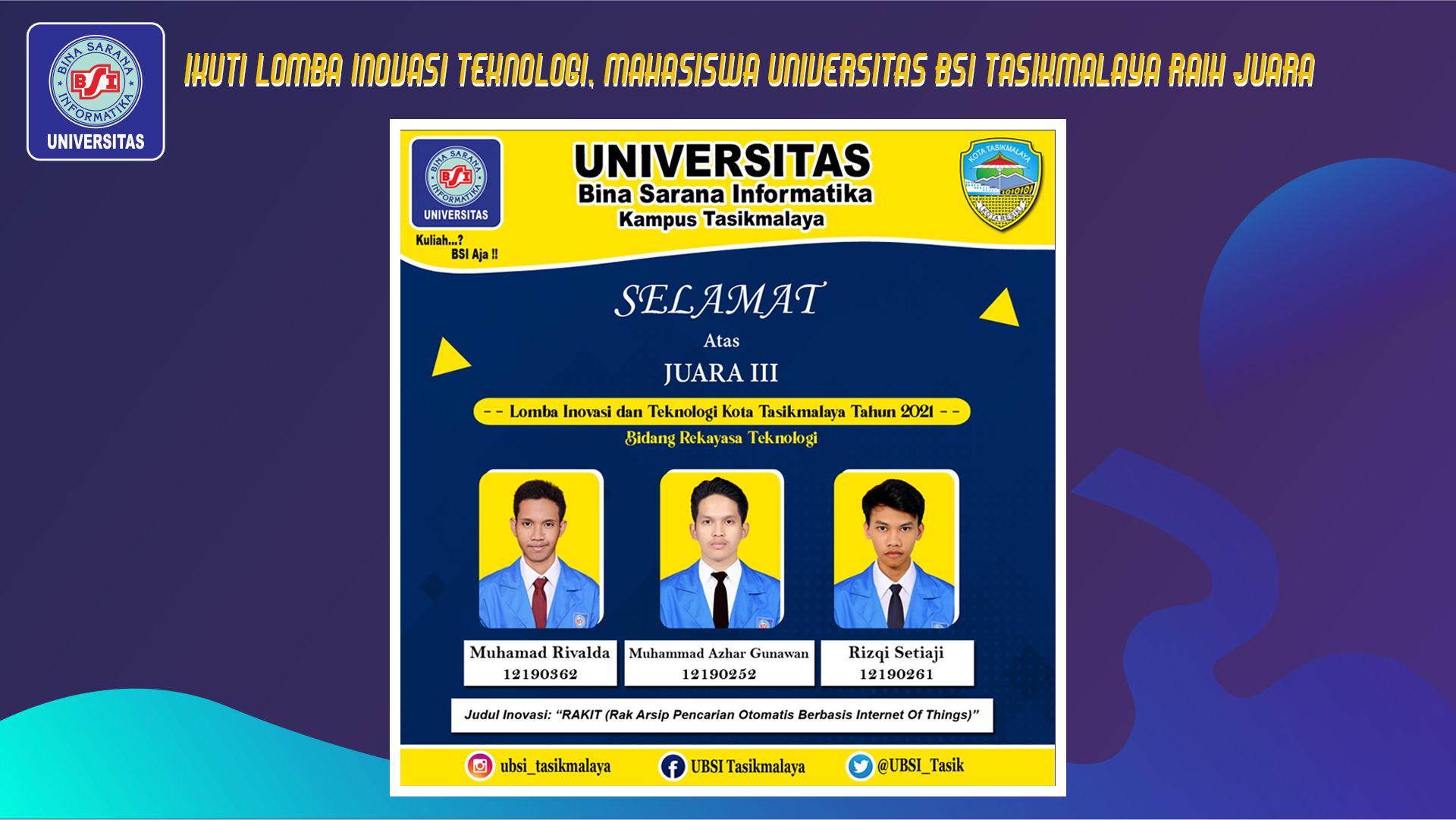 Ikuti Lomba Inovasi Teknologi, Mahasiswa Universitas BSI Tasikmalaya Raih Juara