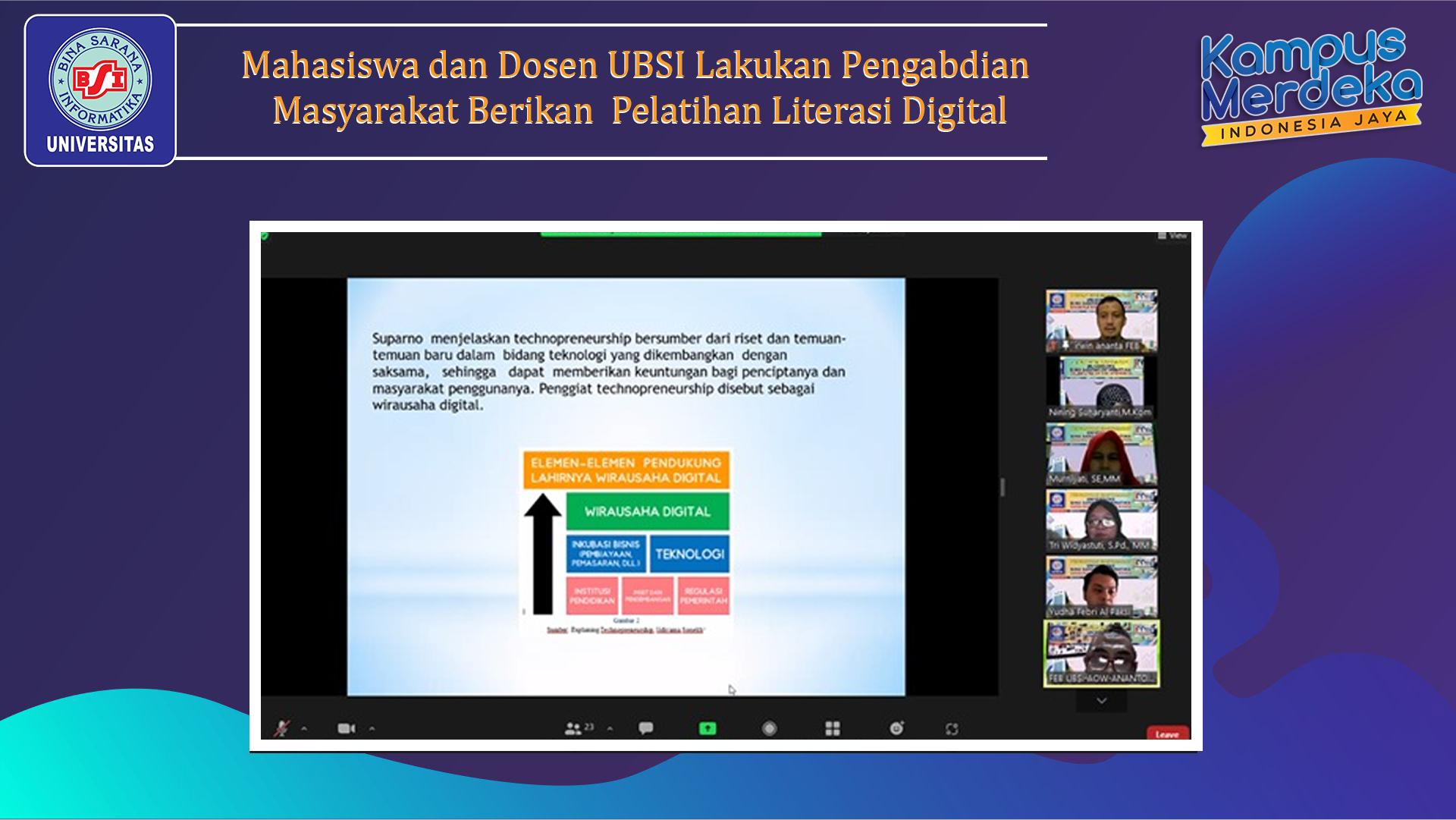 Mahasiswa dan Dosen UBSI Lakukan Pengabdian Masyarakat Berikan  Pelatihan Literasi Digital