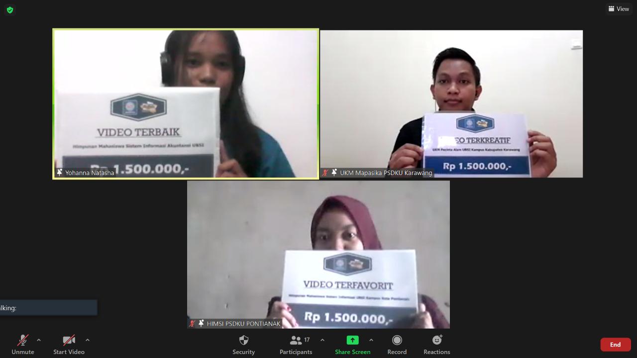 Penyerahan Hadiah Pemenang Lomba Video Profil Ormawa Universitas Bina Sarana Informatika
