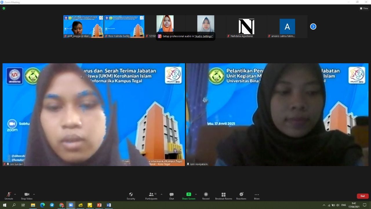UKM Kerohanian Islam UBSI Kampus tegal, Gelar Sertijab Online