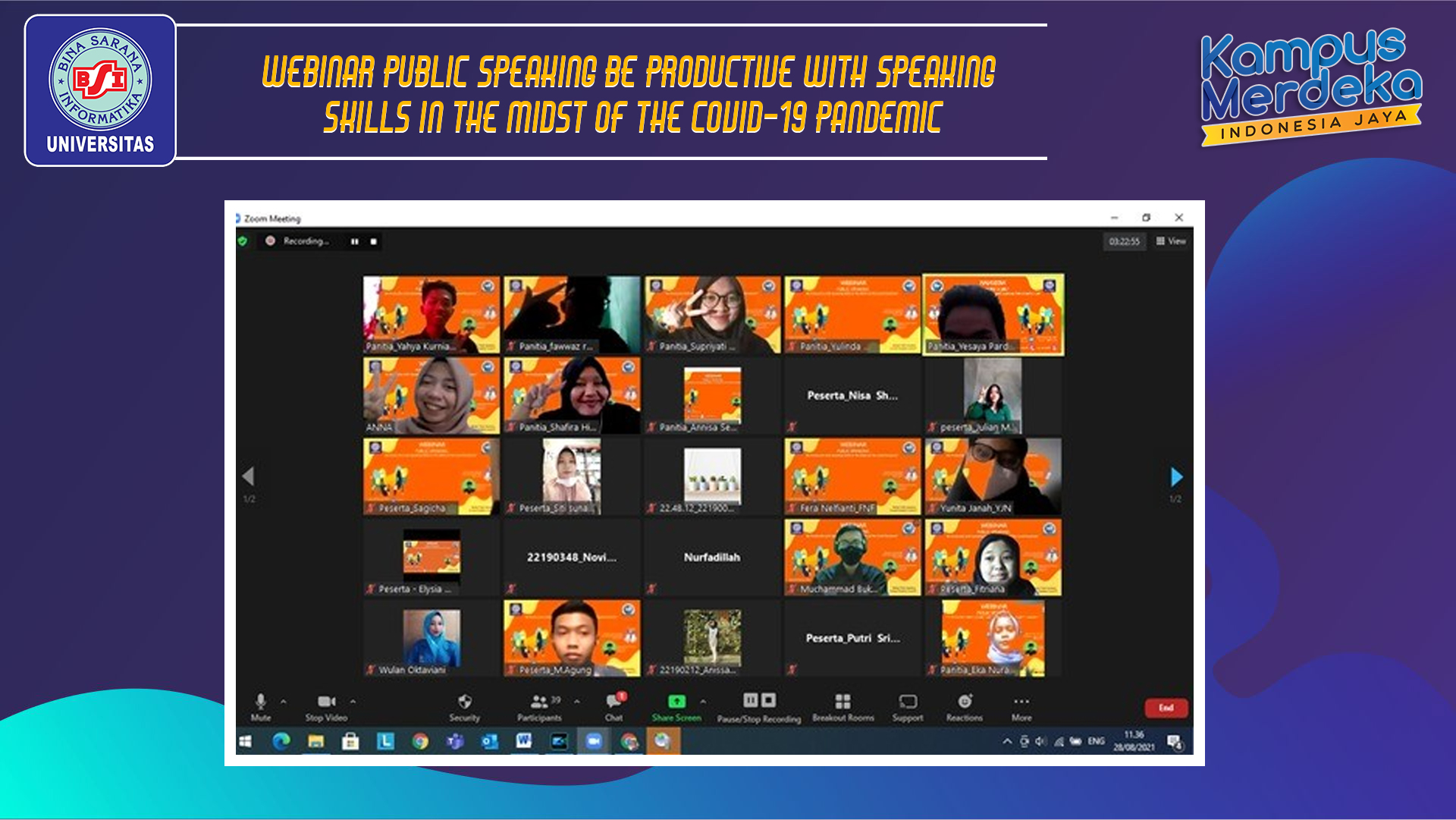 """WEBINAR PUBLIC SPEAKING """"BE PRODUCTIVE WITH SPEAKING SKILLS IN THE MIDST OF THE COVID-19 PANDEMIC"""" OLEH HIMMANIS"""