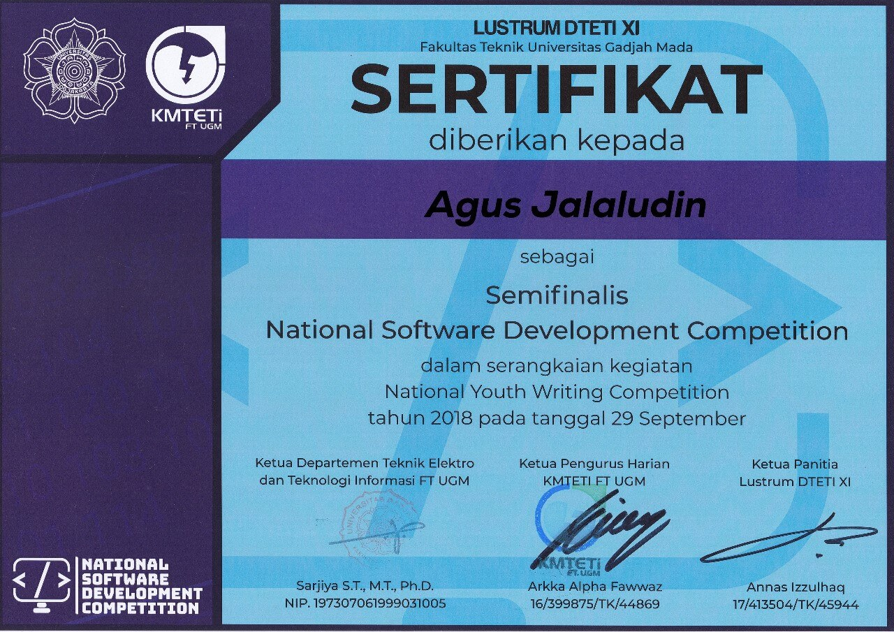 2018 - Nasional Software Development Competition