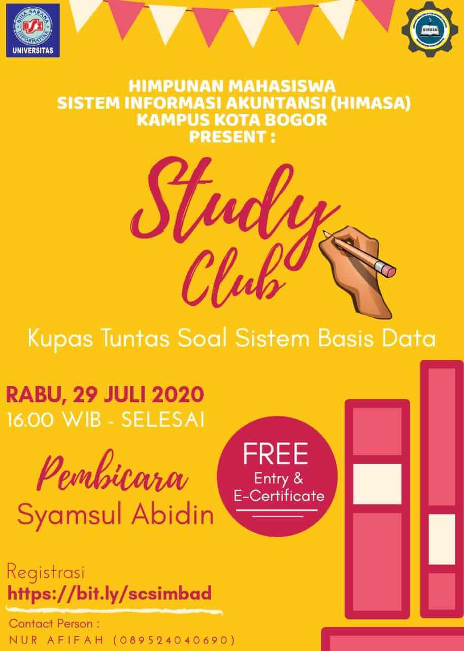 """Studi Club Online Sistem Basis Data dengan Tema """"Kupas Tuntas Soal Sistem Basis Data"""""""