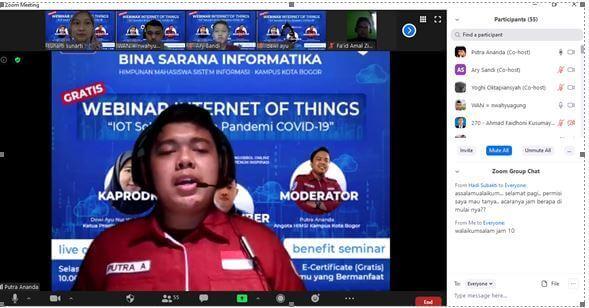 """Webinar HIMSI Kampus Kota Bogor dengan tema""""IOT Solution di Era Pandemi COVID-19"""