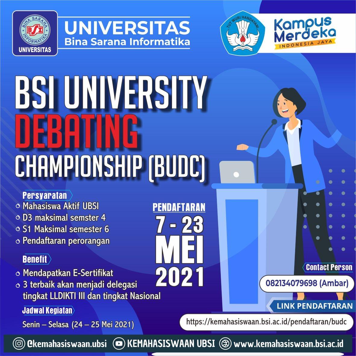 LOMBA BSI UNIVERSITY DEBATING CHAMPIONSHIP (BUDC) 2021