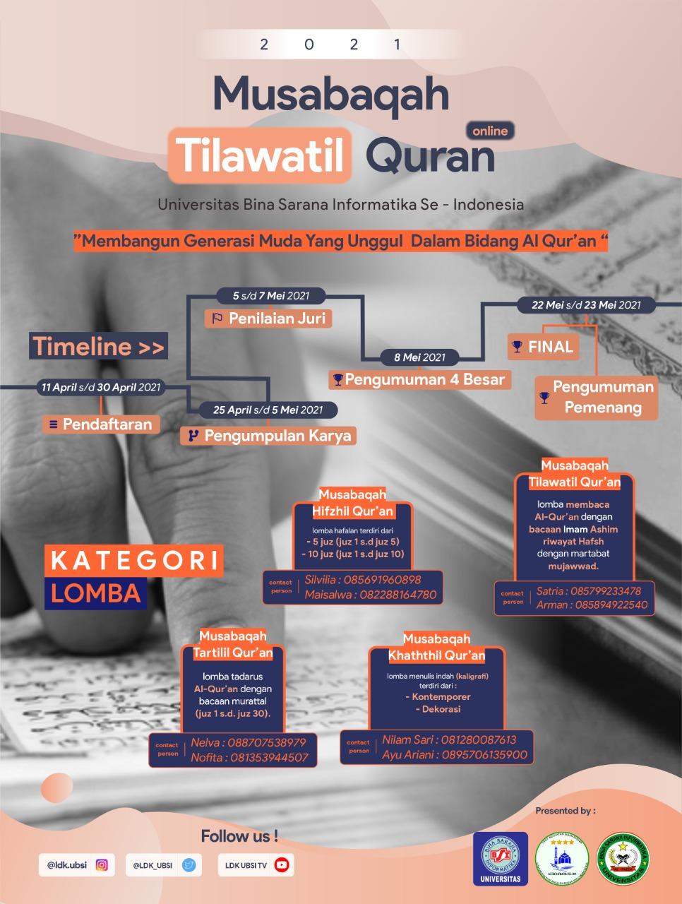 MUSABAQAH TILAWATIL QUR'AN ONLINE 2021 UNIVERSITAS BINA SARANA INFORMATIKA SE-INDONESIA