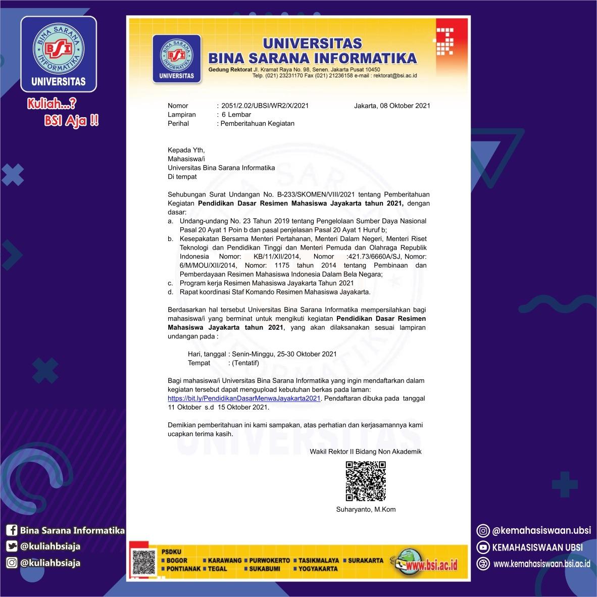 PENDIDIKAN DASAR RESIMEN MAHASISWA JAYAKARTA TAHUN 2021