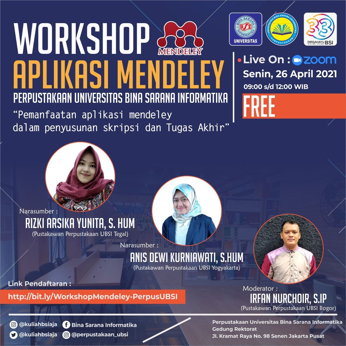 WORKSHOP APLIKASI MENDELEY PERPUSTAKAAN UBSI